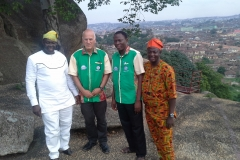 Dr. Dressler Offer with CEADESE team on Olumo Rock, Abeokuta