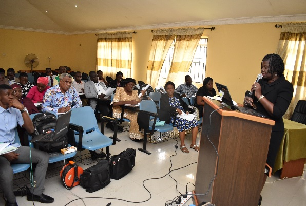 Representative of the Vice-Chancellor, Deputy Vice-Chancellor, Academics, Professor Morenike Dipeolu speaking at the Workshop
