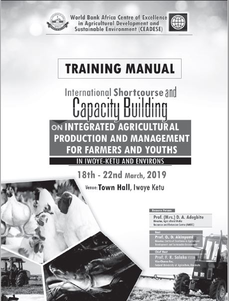 training_manual,capacity building,farmers,youths,iwoye ketu